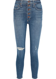 Alice + Olivia Woman Cropped Distressed High-rise Skinny Jeans Mid Denim
