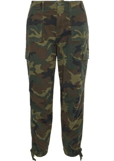 Alice + Olivia Woman Cropped Printed Stretch-cotton Twill Tapered Pants Army Green