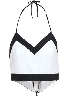 Alice + Olivia Woman Cropped Two-tone Crepe Halterneck Top White