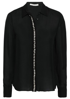 Alice + Olivia Woman Crystal-embellished Silk-crepe Shirt Black