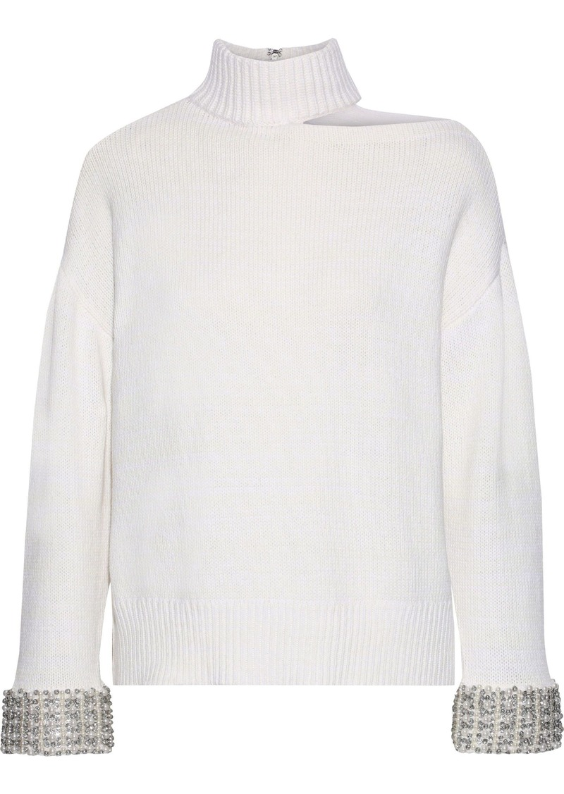 Alice + Olivia Woman Cutout Embellished Knitted Sweater White