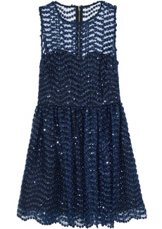 Alice + Olivia Woman Daisy Sequin-embellished Tulle Mini Dress Indigo