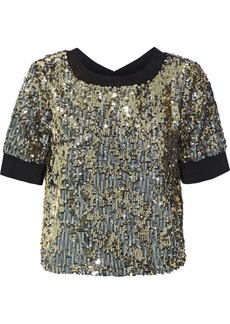 Alice + Olivia Woman Danica Sequined Crepe De Chine Top Silver