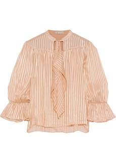 Alice + Olivia Woman Danika Pussy-bow Striped Burnout Satin Blouse Peach