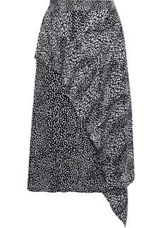 Alice + Olivia Woman Danita Layered Cupro-blend Leopard-jacquard Midi Skirt Black