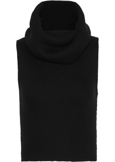 Alice + Olivia Woman Darcey Brushed Ribbed Wool-blend Turtleneck Sweater Black