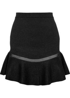 Alice + Olivia Woman Daren Tulle-trimmed Metallic Stretch-knit Mini Skirt Black
