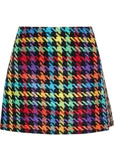 Alice + Olivia Woman Darma Paneled Houndstooth Tweed Mini Skirt Multicolor