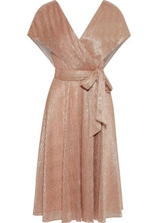 Alice + Olivia Woman Darva Wrap-effect Lamé Midi Dress Rose Gold