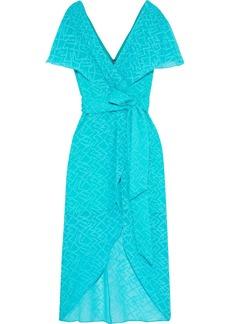 Alice + Olivia Woman Darva Wrap-effect Swiss-dot Silk And Cotton-blend Midi Dress Turquoise