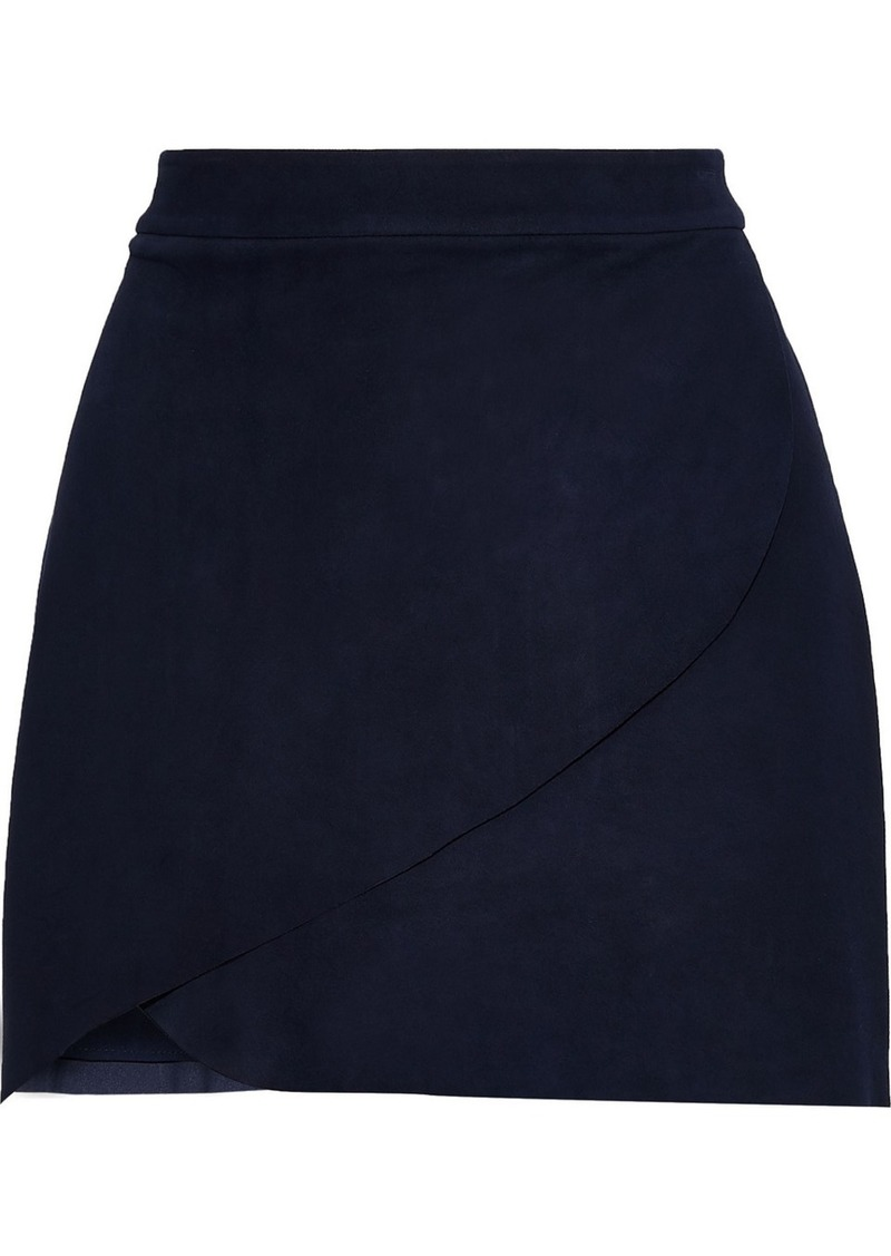 Alice + Olivia Woman Dasia Wrap-effect Suede Mini Skirt Midnight Blue