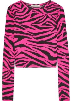 Alice + Olivia Woman Delaina Neon Zebra-print Stretch-jersey Top Bright Pink