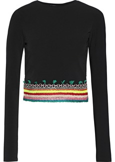 Alice + Olivia Woman Delania Cropped Cutout Embroidered Crepe Top Black