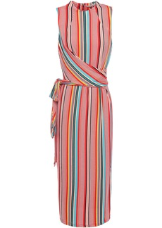 Alice + Olivia Woman Delora Belted Striped Stretch-jersey Midi Dress Red
