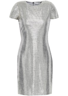 Alice + Olivia Woman Delora Metallic Stretch-knit Mini Dress Silver