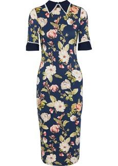 Alice + Olivia Woman Delora Poplin-trimmed Floral-print Stretch-jersey Midi Dress Midnight Blue