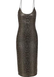 Alice + Olivia Woman Delora Snake-print Glittered Stretch-mesh Slip Dress Gold
