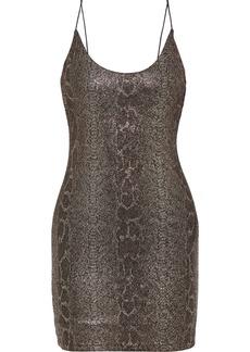 Alice + Olivia Woman Delora Snake-print Stretch-knit Mini Slip Dress Gold
