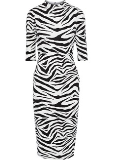 Alice + Olivia Woman Delora Zebra-print Stretch-jersey Dress Animal Print