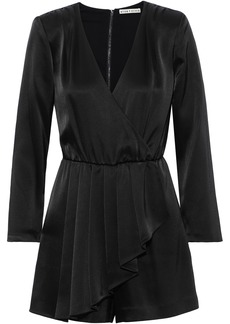 Alice + Olivia Woman Demi Wrap-effect Pleated Satin Playsuit Black