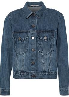 Alice + Olivia Woman Chloe Appliquéd Denim Jacket Mid Denim