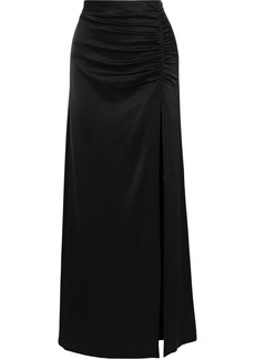 Alice + Olivia Woman Diana Ruched Satin-crepe Maxi Skirt Black