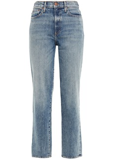 Alice + Olivia Woman Distressed High-rise Straight-leg Jeans Mid Denim