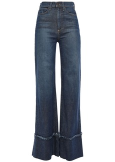 Alice + Olivia Woman Distressed High-rise Wide-leg Jeans Mid Denim