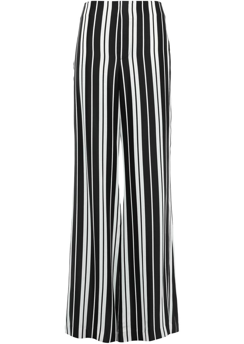 Alice + Olivia Woman Dylan Striped Satin Wide-leg Pants Black