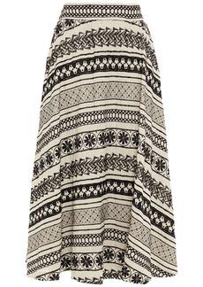 Alice + Olivia Woman Earla Embroidered Linen Midi Skirt Beige