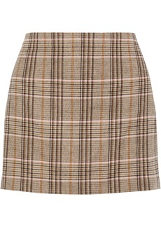 Alice + Olivia Woman Elana Checked Woven Mini Skirt Neutral
