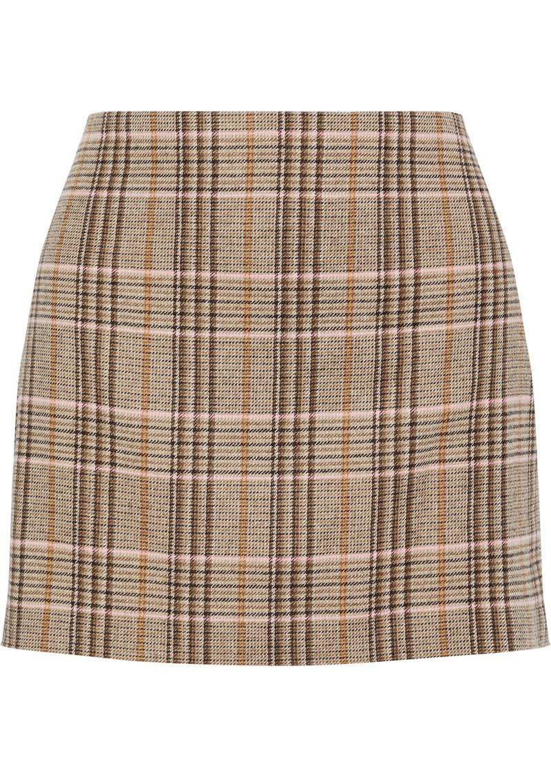 Alice + Olivia Woman Elana Checked Woven Mini Skirt Neutral
