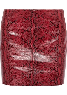 Alice + Olivia Woman Elana Snake-effect Leather Mini Skirt Brick