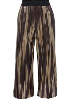 Alice + Olivia Woman Elba Cropped Printed Plissé-lamé Wide-leg Pants Gold