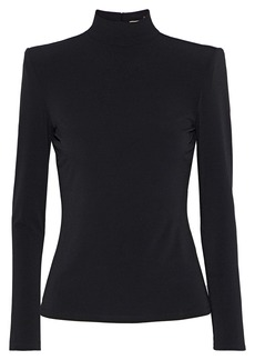 Alice + Olivia Woman Eleanor Stretch-crepe Turtleneck Top Black
