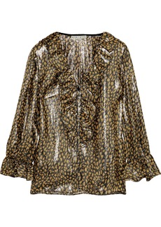 Alice + Olivia Woman Elliot Ruffle-trimmed Leopard-print Silk-blend Lamé Blouse Gold