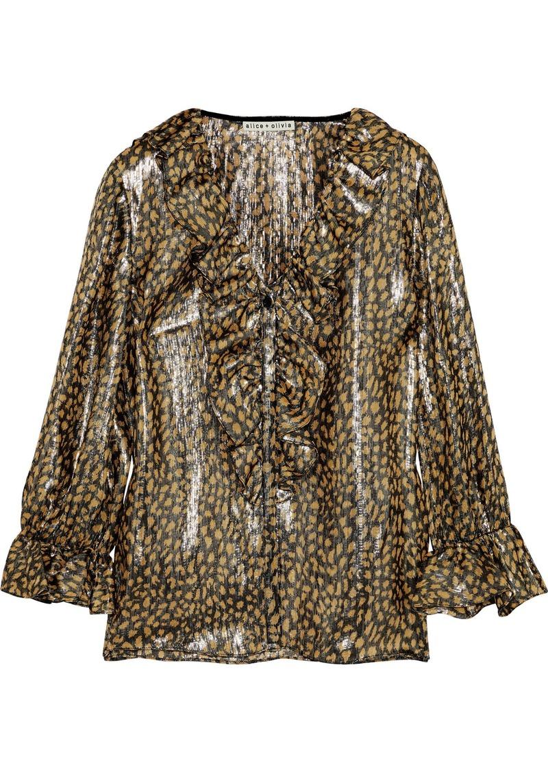 Alice + Olivia Woman Elliot Ruffle-trimmed Leopard-print Silk-blend Lamé Blouse Gold