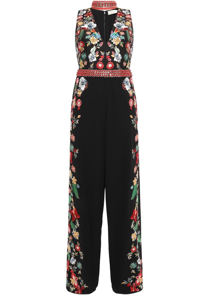 Alice + Olivia Woman Embellished Crepe Jumpsuit Black