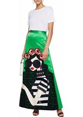 Alice + Olivia Woman Embellished Lace-appliquéd Satin And Twill Flared Maxi Skirt Green
