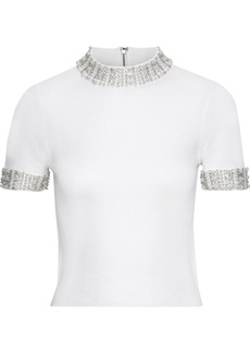 Alice + Olivia Woman Embellished Ribbed Stretch-wool Top White