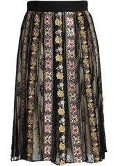Alice + Olivia Woman Embroidered Gauze And Lace Midi Skirt Black