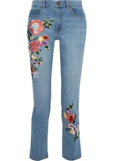 Alice + Olivia Woman Embroidered High-rise Slim-leg Jeans Mid Denim