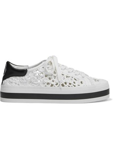 Alice + Olivia Woman Emersyn Embroidered Leather-trimmed Braided Faux Raffia Platform Sneakers Ivory