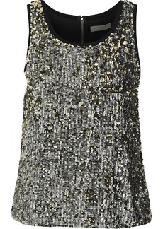 Alice + Olivia Woman Emmett Sequined Crepe De Chine Tank Silver