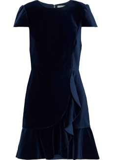 Alice + Olivia Woman Enid Ruffle-trimmed Velvet Mini Dress Navy