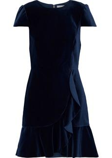 Alice + Olivia Woman Enid Ruffle-trimmed Velvet Mini Dress Navy