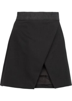 Alice + Olivia Woman Ericka Wrap-effect Twill Mini Skirt Black