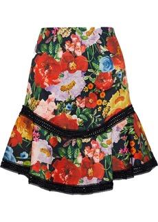 Alice + Olivia Woman Eriko Lace-trimmed Floral-print Cotton-blend Mini Skirt Multicolor