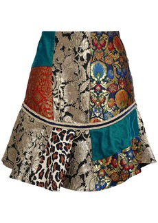 Alice + Olivia Woman Eriko Patchwork Brocade Printed Crepe And Satin Mini Skirt Multicolor