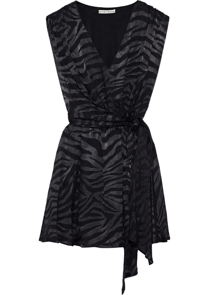 Alice + Olivia Woman Essie Tiger-print Burnout Satin Mini Wrap Dress Black